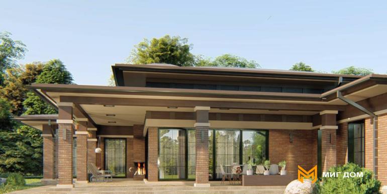 Проект одноэтажного дома в стиле Райта